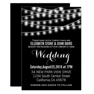 Sommarbröllop stränger ljussvartdesign 12,7 x 17,8 cm inbjudningskort