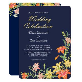 SommarDaylilies på marinblå bröllopinbjudan 12,7 X 17,8 Cm Inbjudningskort