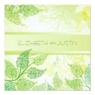 Sommaren lämnar bröllopinbjudan fyrkantigt 13,3 cm inbjudningskort