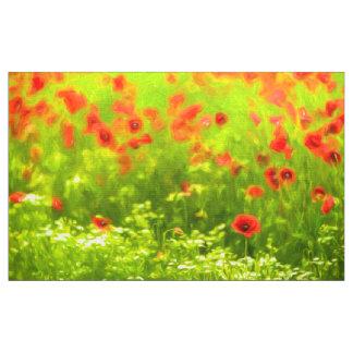 Sommarkänslor - den underbara vallmon blommar I Tyg