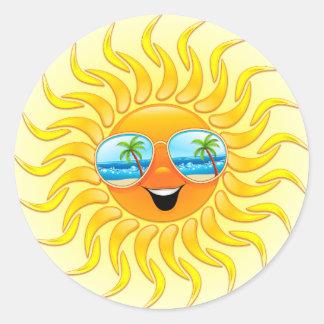 Sommarsoltecknad med solglasögonklistermärkear runt klistermärke