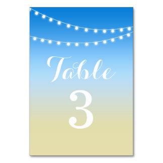 Sommarstranden stränger ljusbordsnumret bordsnummer