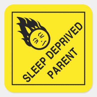 Sömn berövade förälderklistermärkear fyrkantigt klistermärke