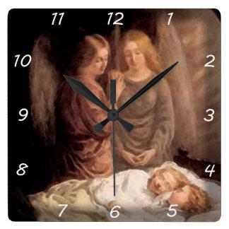 Sömn - två skyddsänglar och barn fyrkantig klocka