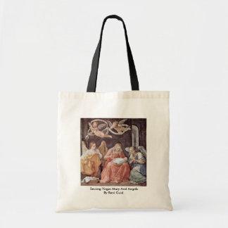 Sömnad jungfruliga Mary och änglar av Reni Guido Tygkasse