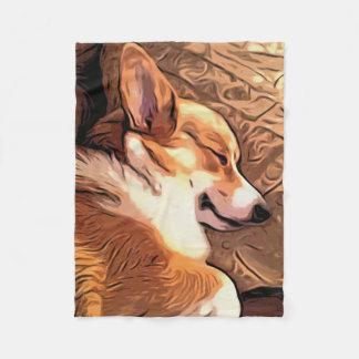 Sömnig Corgi Fleecefilt