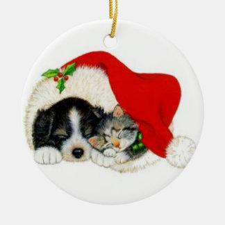 Sömnig husdjur julgransprydnad keramik