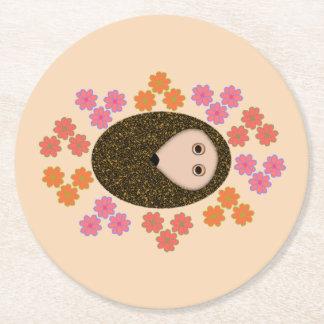 Sömnigt igelkott- och blommapappersunderlägg underlägg papper rund