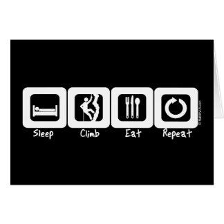 Sömnklättringen äter repetition hälsningskort