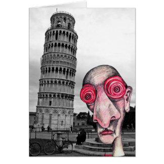 """Sömnlösa besök """"det lutande torn av Pisa """", Hälsningskort"""