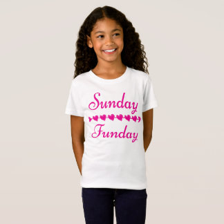 SöndagFunday gullig rolig rosa hjärta T-shirts