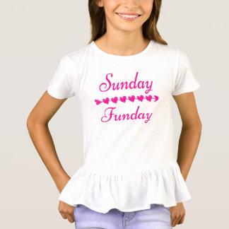 SöndagFunday gullig rolig rosa hjärta T Shirts