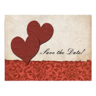 Sönderriven papper bröllop spara datum för röda vykort