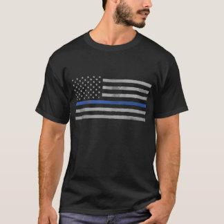 Söndersliten bekymrad tunn blålinjenflagga tshirts