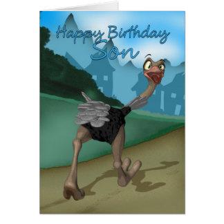 Sonfödelsedagkortet - tecknadOstrich - Digital Hälsningskort