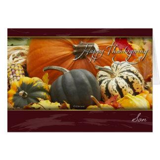 Sons thanksgivingkort med pumpor hälsningskort