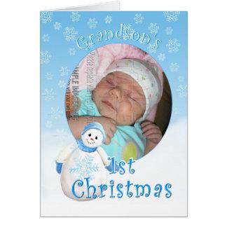Sonson 1st hälsning Ca för foto för julsnögubbe Hälsningskort