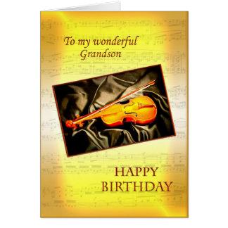 Sonson ett musikaliskt födelsedagkort med en fiol hälsningskort