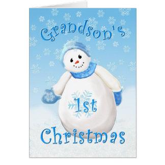 Sonson första kort för hälsning för julsnögubbe