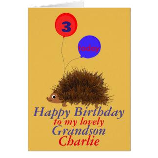 Sonsonen för igelkotttecknadfödelsedagen tillfogar hälsningskort