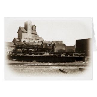 Soo fodrar lokomotiv på Manitowoc på Turntable Hälsningskort