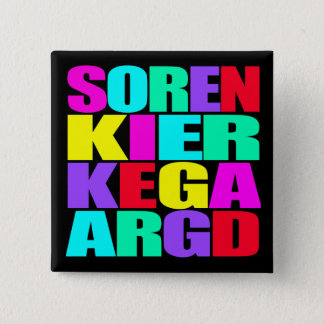 """SOREN KIERKEGAARD "", STANDARD KANPP FYRKANTIG 5.1 CM"