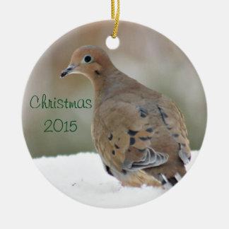 Sörjande duvafoto julgransprydnad keramik