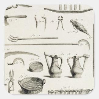 Sortiment av att arbeta i trädgården verktyg, från fyrkantigt klistermärke