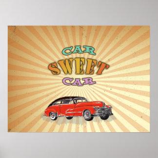 Söt bil för Retro muskelbil med vintagedesign Posters