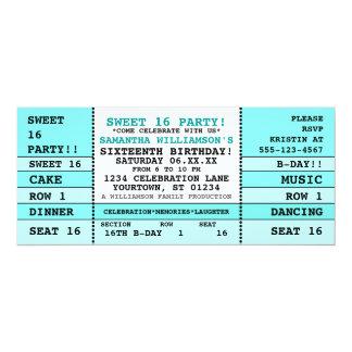 Söt biljettinbjudan för 16 konsert 10,2 x 23,5 cm inbjudningskort