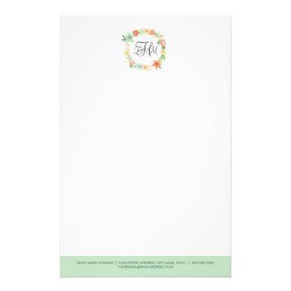 Söt blom- Monogrambrevpapper Stationär