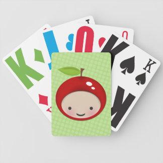 Söt Chibi körsbärsröd grodd som leker kortdäcket Spelkort