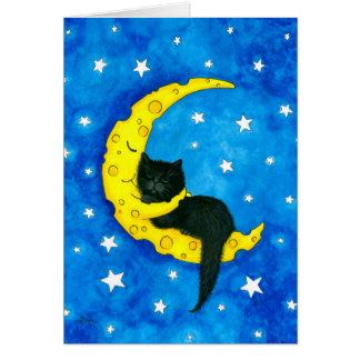 Söt drömkatt på månen vid Bihrle Hälsningskort