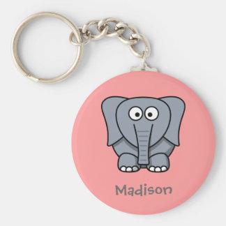 Söt elefant rund nyckelring