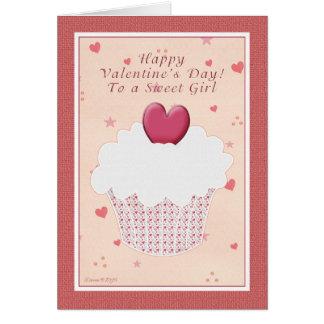 Söt flicka - lyckliga valentin dag - hjärtamuffin hälsningskort
