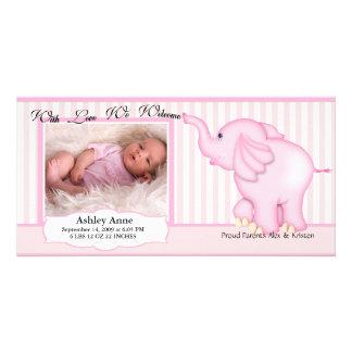 Söt flickafödelse för elefant fotokort