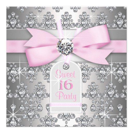 Söt födelsedag 16 för för silverdiamantrosor och g anpassade inbjudningskort