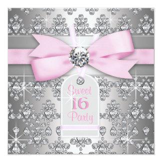 Söt födelsedag 16 för för silverdiamantrosor och anpassade inbjudningskort