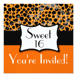 Söt födelsedag 16 för orange Cheetah Fyrkantigt 13,3 Cm Inbjudningskort