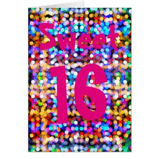 Söt födelsedag 16. Lyckligt ljust färgglatt Hälsningskort