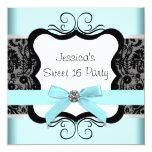 Söt födelsedagsfest 16 för svart damastast anpassade inbjudan