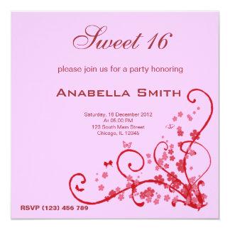 Söt födelsedagsfest 16 fyrkantigt 13,3 cm inbjudningskort