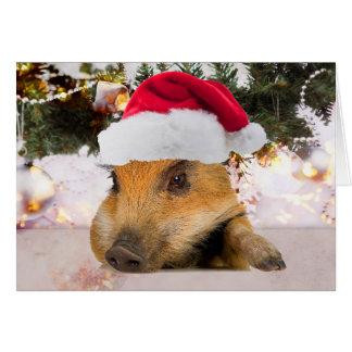 Söt gris i Santa hattjulgran Hälsningskort