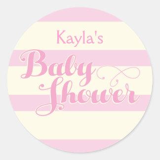 Söt i den rosa baby shower, klistermärkear runt klistermärke