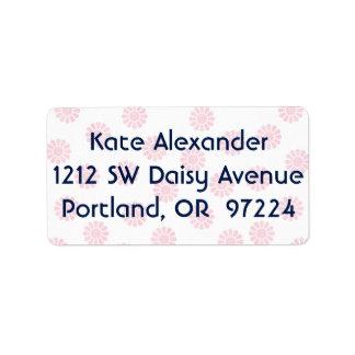 Söt i rosa Daisey Adressetikett