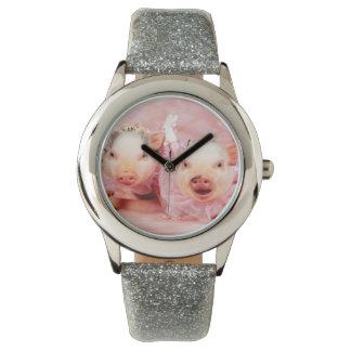 Söt i rosa klocka för grisungeglitter
