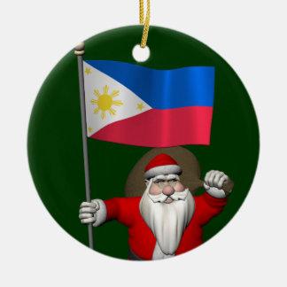 Söt jultomten med ensignen av Filippinerna Julgransprydnad Keramik