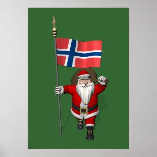 Söt jultomten med ensignen av norgen affisch
