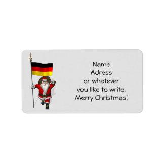 Söt jultomten med ensignen av Tysklandet Adressetikett
