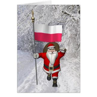 Söt jultomten med flagga av Polen Hälsningskort